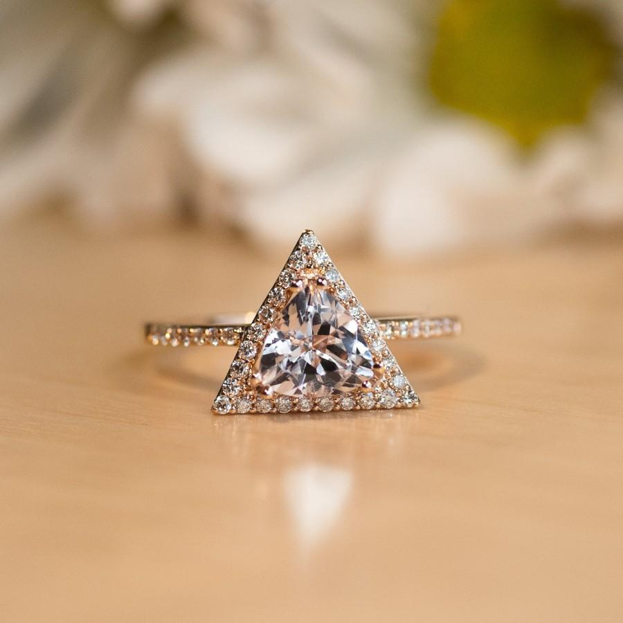 Mariage - RESERVED KJ Morganite engagement Ring, Rose Gold, Triangle Engagement Ring, Pink Gemstone, Trillion Cut Ring, Unique engagement ring