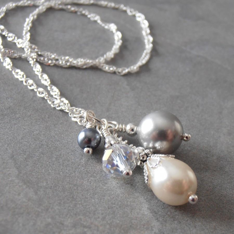 Mariage - LIght and Dark Gray Pearl Cluster Necklace with Crystal on Sterling Silver Chain Beaded Pendant  Bridesmaid Jewelry Mystic Pewter Ivory