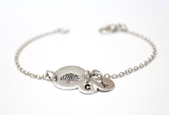 Hochzeit - Family Tree Bracelet,Sterling Silver Tree Initial Charms,Custom Hand Stamped Jewelry, Mother Jewelry, Grandma, Personalized, Family Bracelet