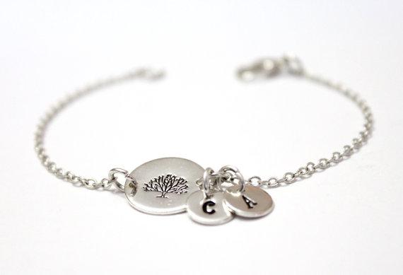Wedding - Family Tree Bracelet,Sterling Silver Tree Initial Charms,Custom Hand Stamped Jewelry, Mother Jewelry, Grandma, Personalized, Family Bracelet