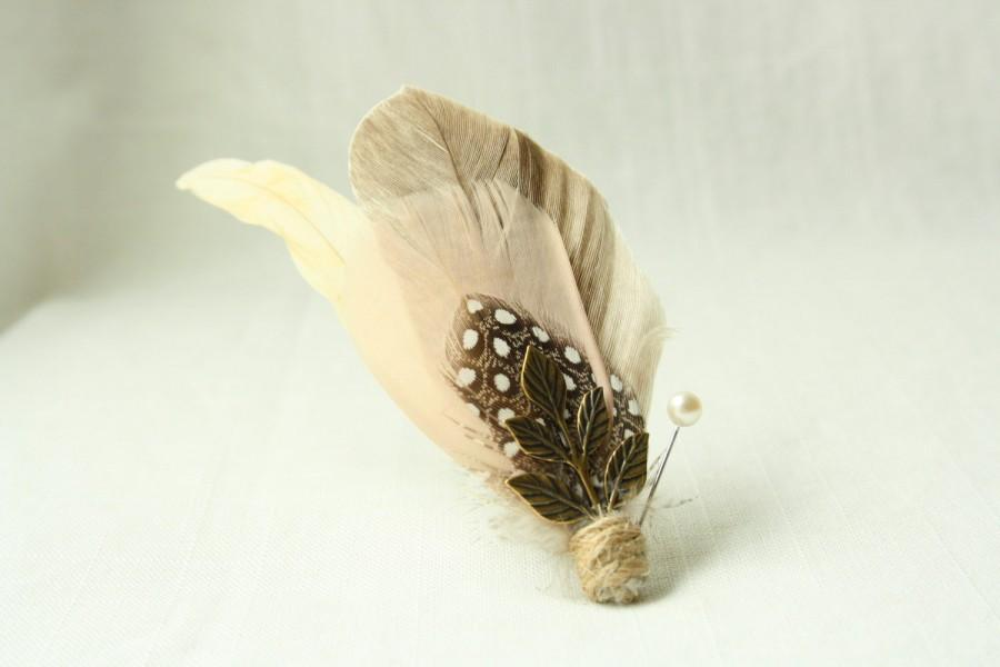 Mariage - THOMSON Boutonniere in Tan, Tawny Brown and Blush with Antiqued Brass Leaf