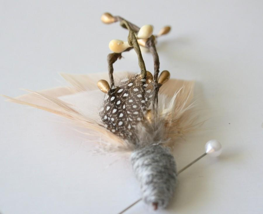 Mariage - SONOMA Feather Boutonniere in Blush, Ivory and Gold with Grey Wool Wrap