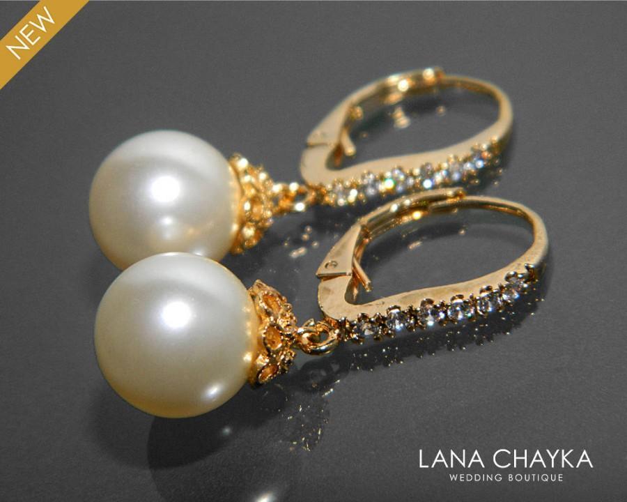 Свадьба - Pearl Bridal Earrings Pearl CZ Gold Leverback Wedding Earrings Swarovski 10mm Ivory Pearl Earrings Bridal Pearl Earrings Bridesmaids Jewelry - $29.50 USD
