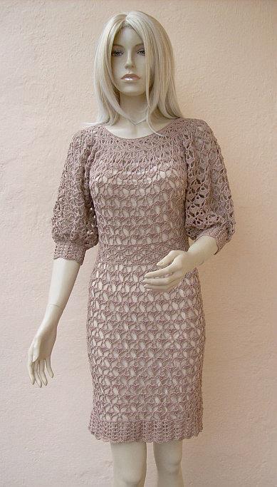 زفاف - Beige dress, Crocheted dress, lace wedding dress, made to order, crochet handmade, chic elegant dress, spring wedding, summer beach, bridal