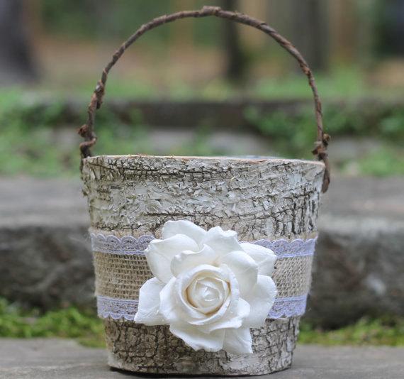 زفاف - Birch Flower Girl Basket Rustic  Burlap Lace and A Paper Rose