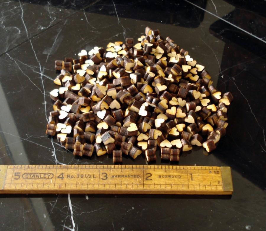 Wedding - Tiny Natural Wood Hearts 250
