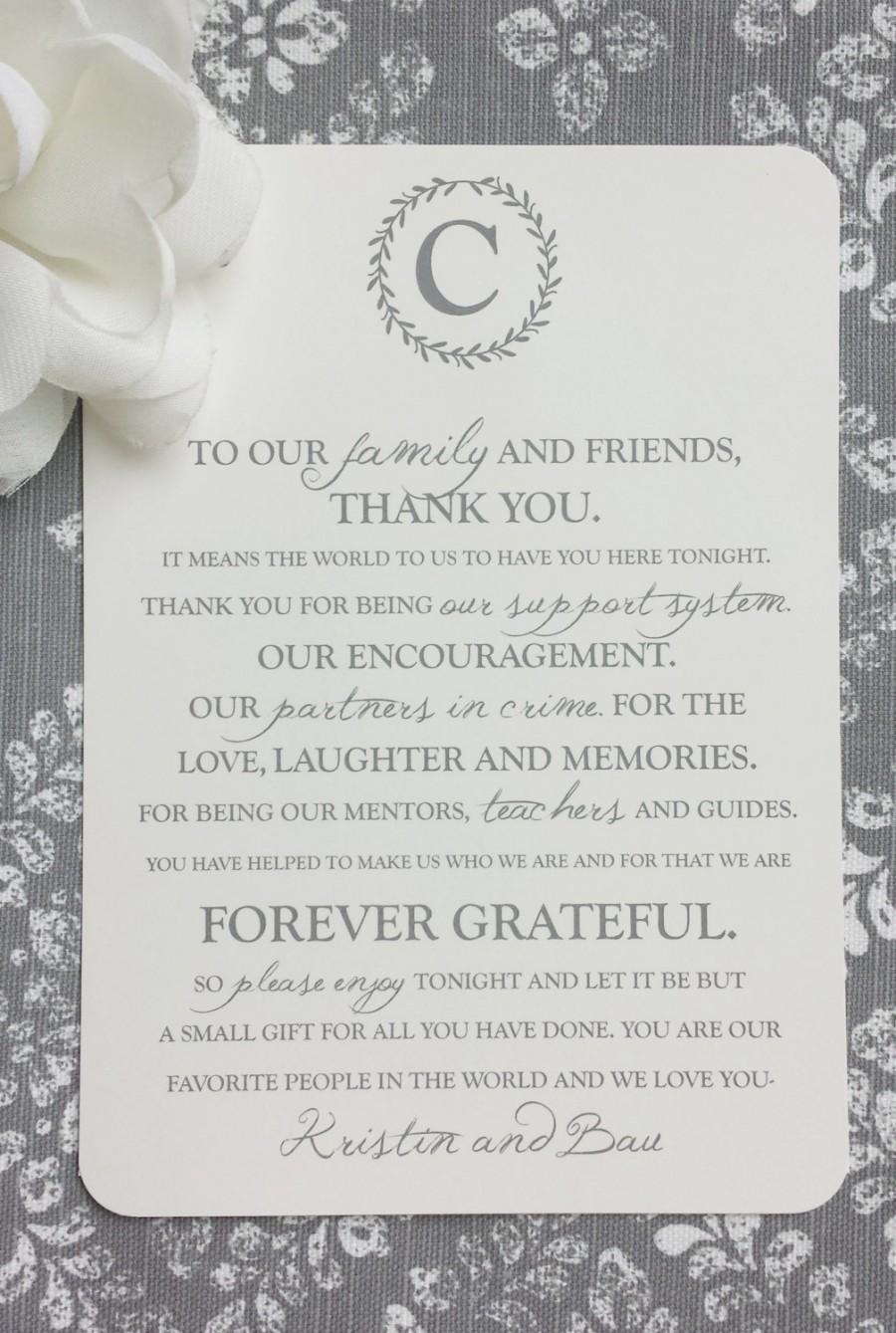 زفاف - PRINTED Wedding Reception Thank You Card - Monogram - Style TY13 - LAUREL COLLECTION