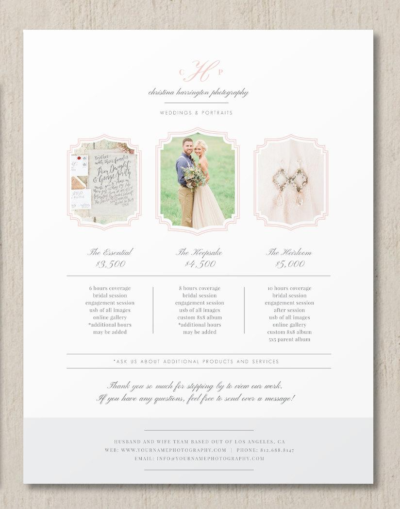 Wedding - Photography Pricing Template - Photographer Pricing Guide - Customizable Price List - Photography Branding - m0230 - Design By Bittersweet