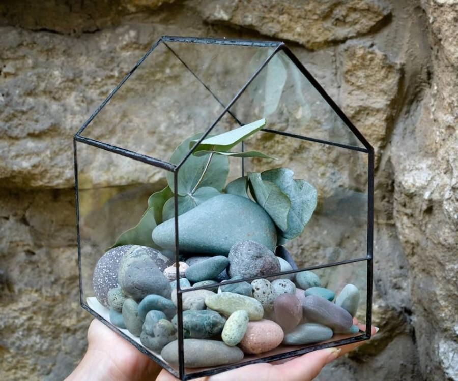 Wedding - Glass Terrarium Medium House Stained glass decoration Home decor Planter for indoor gardening Geometric house decor