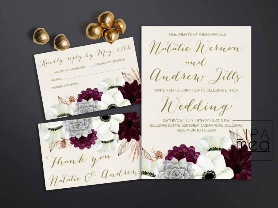 Свадьба - Printable Wedding Invitation, Floral Wedding Invitation, Anemone & Succulent Wedding Invitation, Gold Burgundy Wedding Invitation Boho