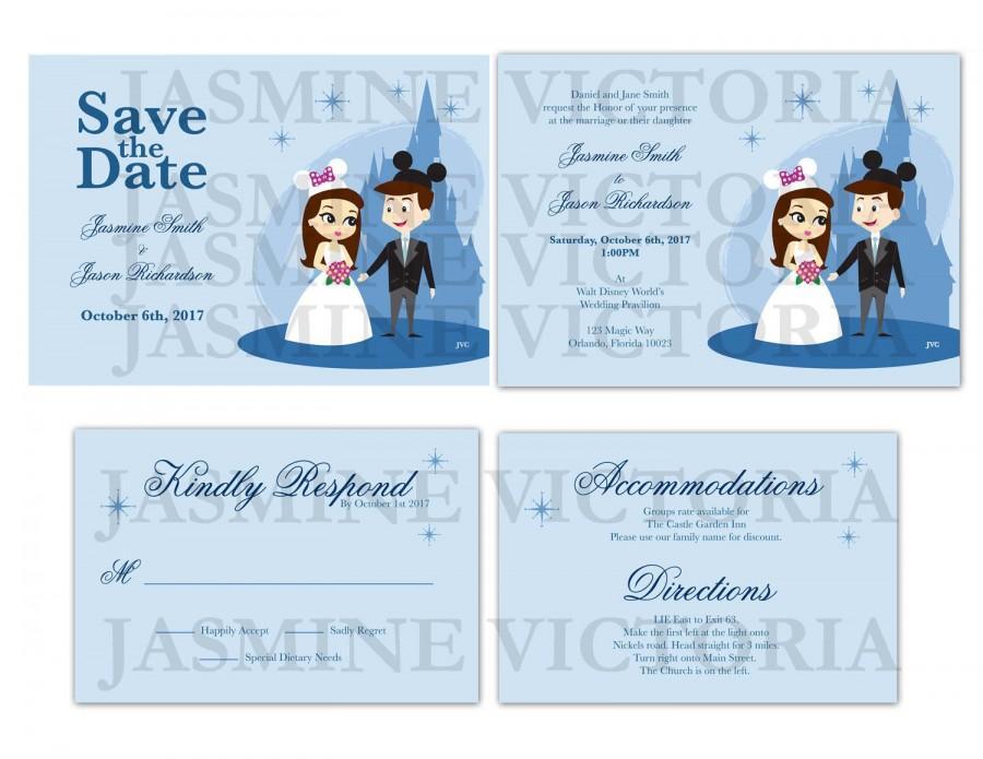 زفاف - Build Your Own Disney World Bride and Groom Wedding Invitation, Save The Date, or RSVP (Digital File)
