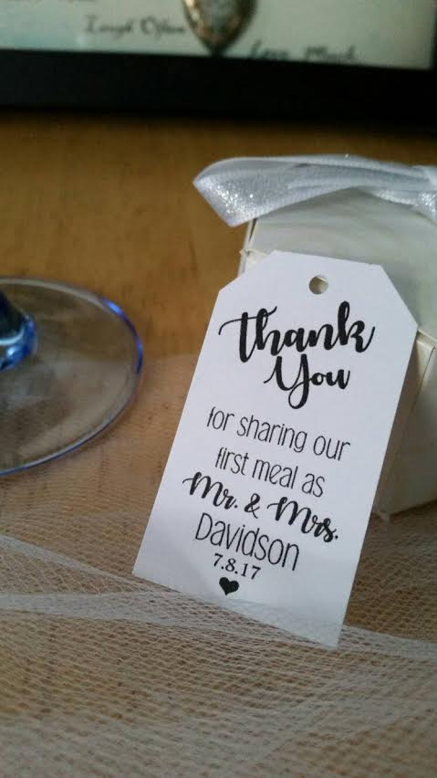 Свадьба - Personalized Thank You For Sharing Our First Meal As Mr Mrs Wedding Favor Thank You Hang Tags
