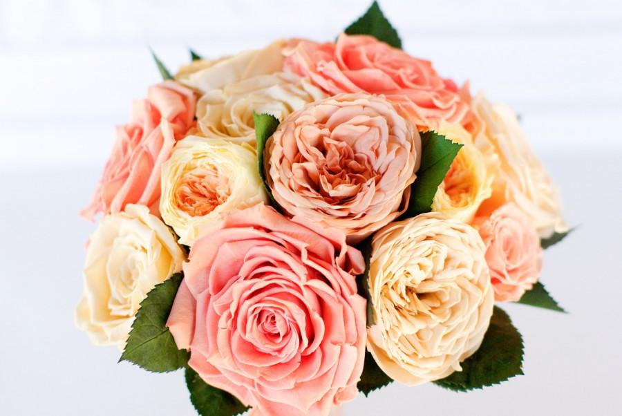 preserved rose bridal bouquet pink peach ivory coral yellow roses garden roses dry flowers real flowers garden rose bouquet - Peach Garden Rose