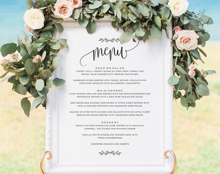 Свадьба - Vintage Wedding Menu, Wedding Menu Board, Wedding Menu Sign, Wedding Printable, Wedding Sign, Template, PDF Instant Download #BPB202_55