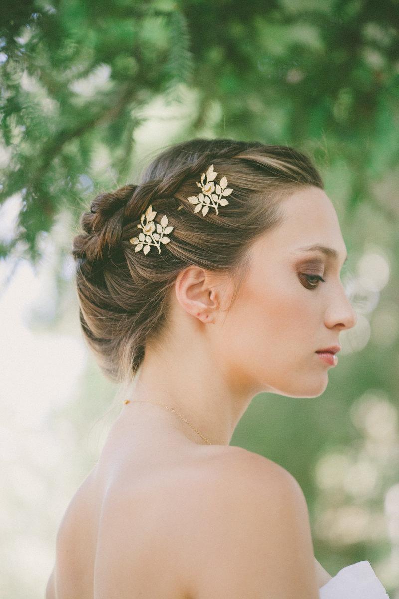 gold rose wedding hair accessories wedding hair pins wedding hair clips wedding bobby pins garden bride garden bridal hair garden weddings