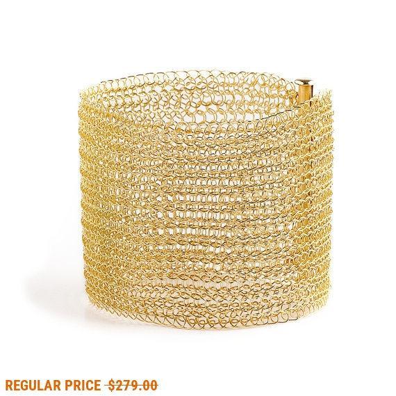 Mariage - Mothers Day SALE- CUFF bracelet Gold filled luxury glamourous handmade Cuff bracelet wire crochet custom cuff fashion jewelry