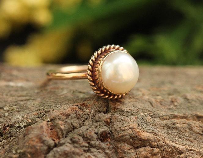 Wedding - 18k Gold Pearl Ring - Wedding Ring - Engagement Ring  - Anniversary Ring - Pearl Promise Ring - Gift for her