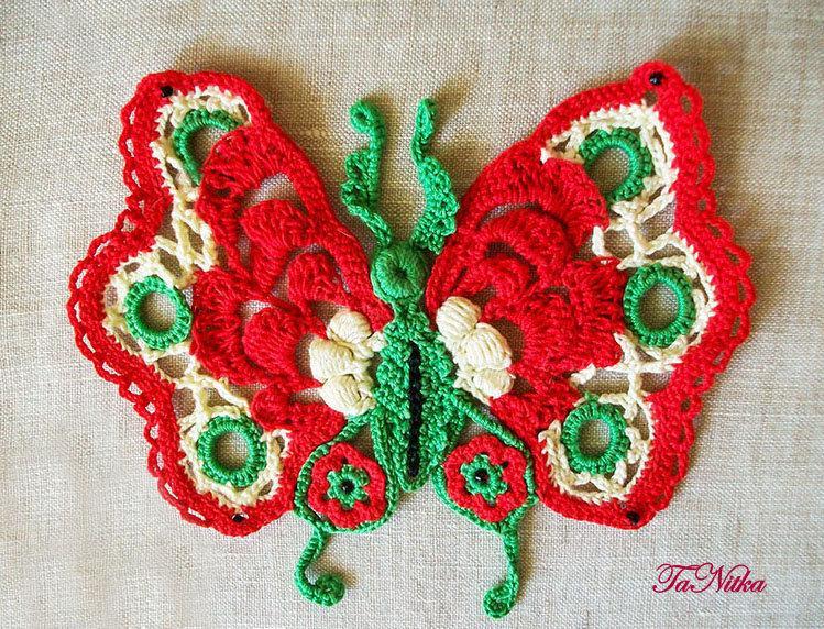 Свадьба - Embellishment Butterfly Crochet Irish Lace Moth Appliqué Сlothes Decoration Knitted Trim Textile - $18.00 USD