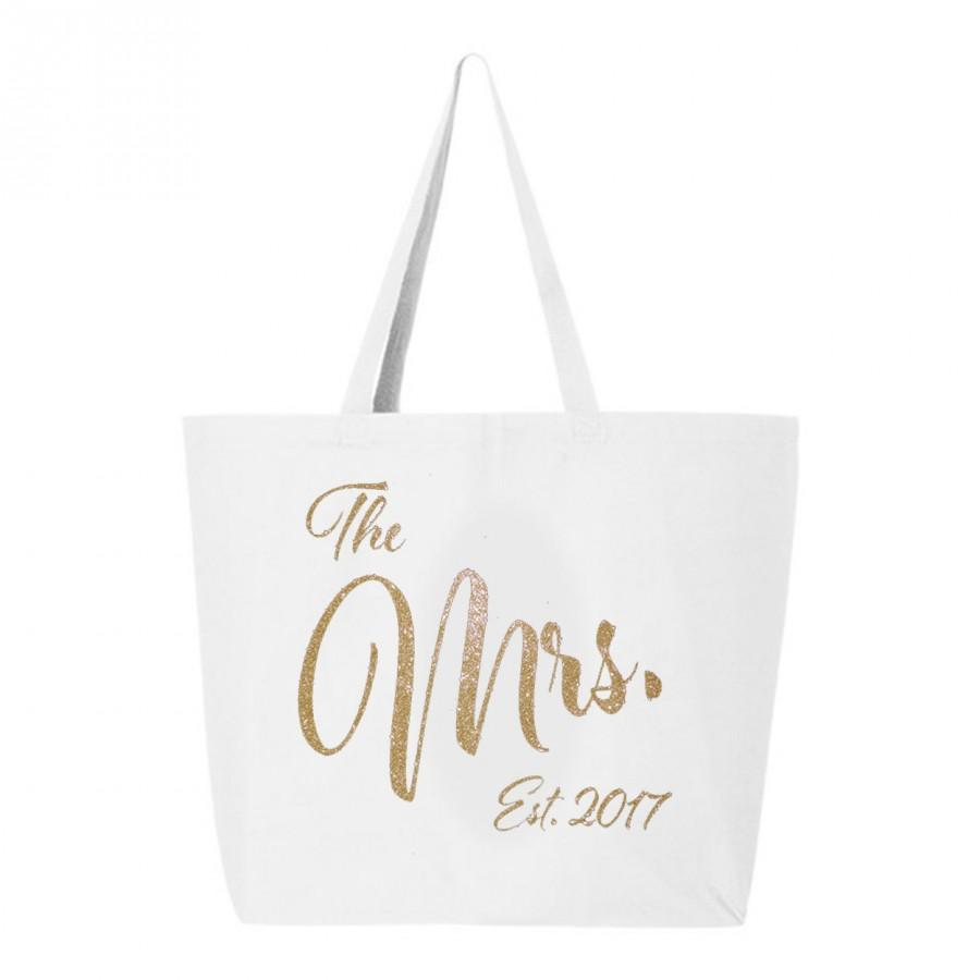 Mariage - Mrs. Tote Bag, Jumbo Mrs Tote Bag, Bridal Shower Gift, Bride carry all, Mrs bag, Just Married Tote, Honeymoon tote bag, bride gift idea, bag