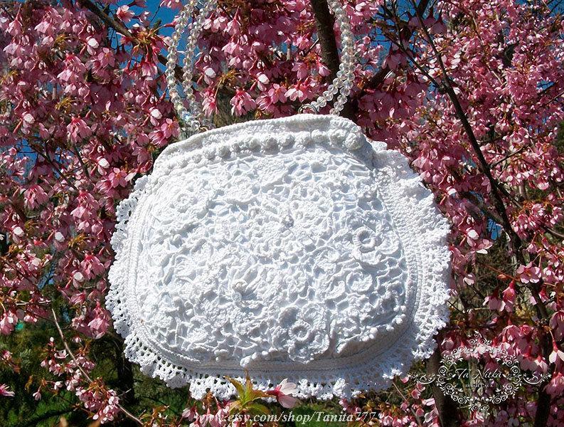 Mariage - Bag Bridal Lace Romantic Handbag Irish Crochet Lace Wedding Luxury Guipure Accessories - $125.00 USD