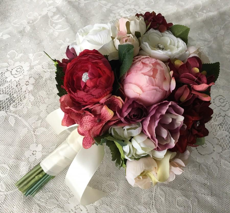 Wedding Bouquet Burgundy : Wedding bouquet bridal blush burgundy