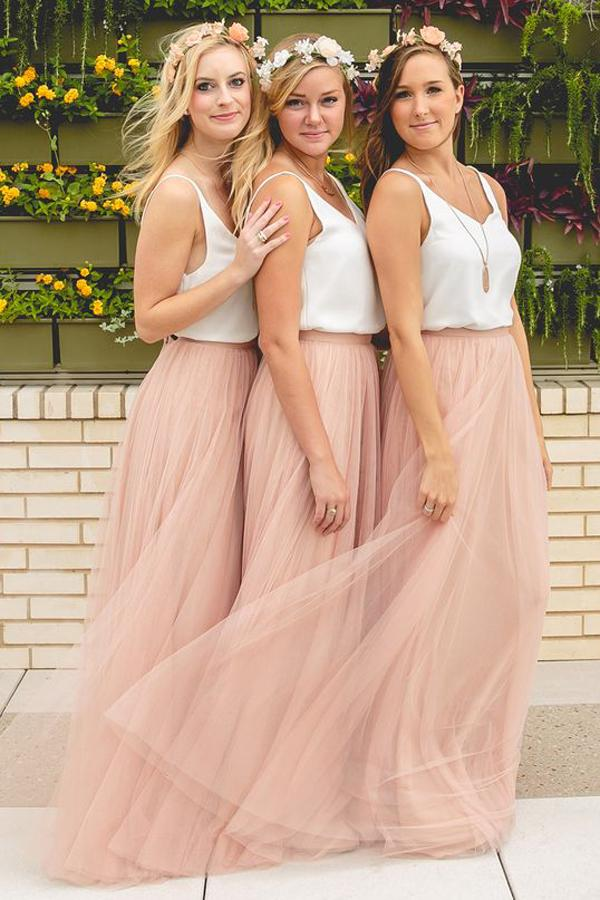 Свадьба - Simple V-Neck Sleeveless Tulle Ruched Floor-Length A-Line Bridesmaid Dress
