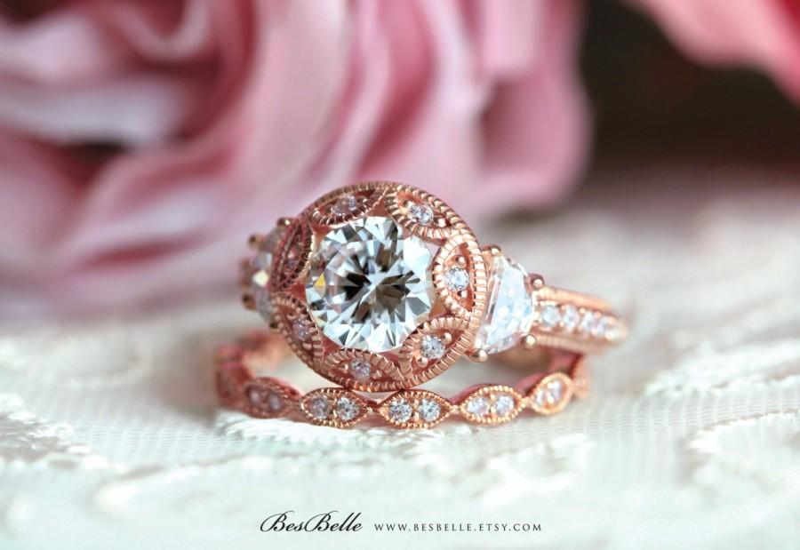 Свадьба - Art Deco Bridal Set Ring-Brilliant Cut Diamond Simulants-Art Deco Engagement Ring-Wedding Ring-Rose Gold Plated-Sterling Silver [61971RG-2]