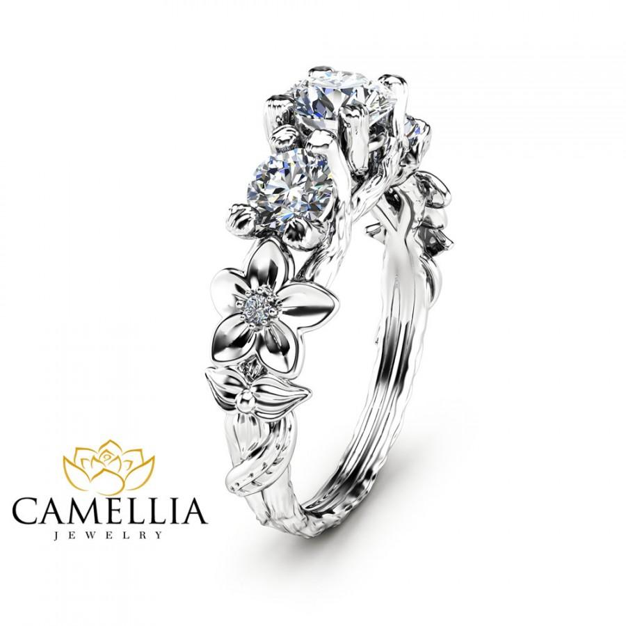 Свадьба - Three Stone Moissanite Engagement Ring 14K White Gold Branch Ring  Inspired by Nature Flower Ring Unique Moissanite Ring