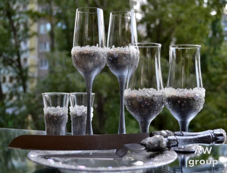 Wedding - Silver & Pearl Wedding Set, Wedding Flutes, Wine glasses, Shot glasses, Cake Server Set, Plate for cake, Industrial Chic, Bohemian Wedding