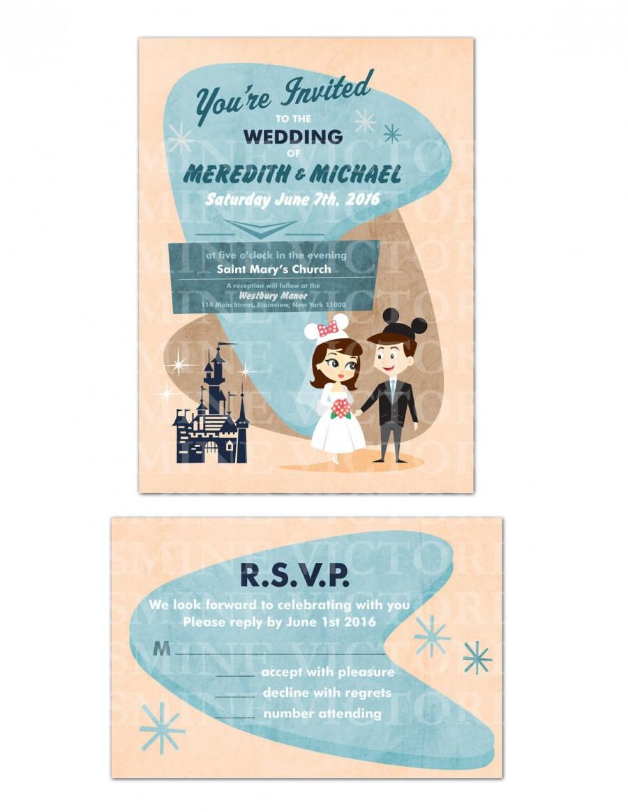 Hochzeit - Retro Disney inspired Bride and Groom Wedding invitation (You pick Gown and Hair)