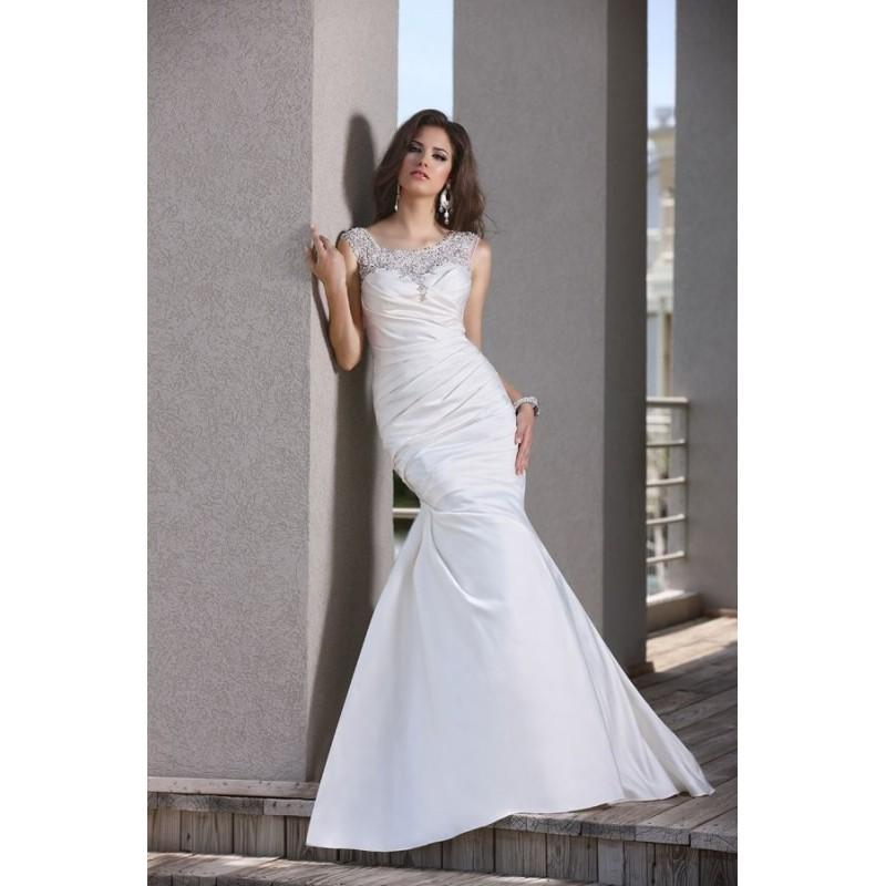 Свадьба - Style 50258 by DaVinci Bridal - Chapel Length SatinTulle Fit-n-flare Cap sleeve Scoop Floor length Dress - 2017 Unique Wedding Shop