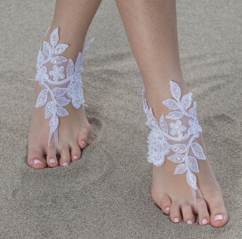 Mariage - White Beach wedding Barefoot Sandals White Lace Barefoot Sandals, Lace Barefoot Sandals, Bridal Lace Shoes,Foot Jewelry Bridesmaid Sandals, - $28.90 USD