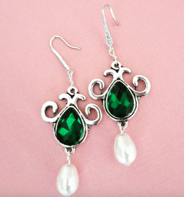 Wedding - Emerald Earrings Green Bridal Earrings Emerald and Pearl Earrings Bridesmaid Jewelry Emerald Fern Clover Dark Green Wedding Jewelry Vintage - $38.00 USD