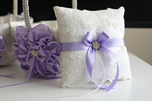 Mariage - Violet Ring Bearer Pillow  Violet Flower Girl Basket  Light Purple Bearer Pillow  Lilac Wedding Basket  Violet Wedding Pillow Basket Set