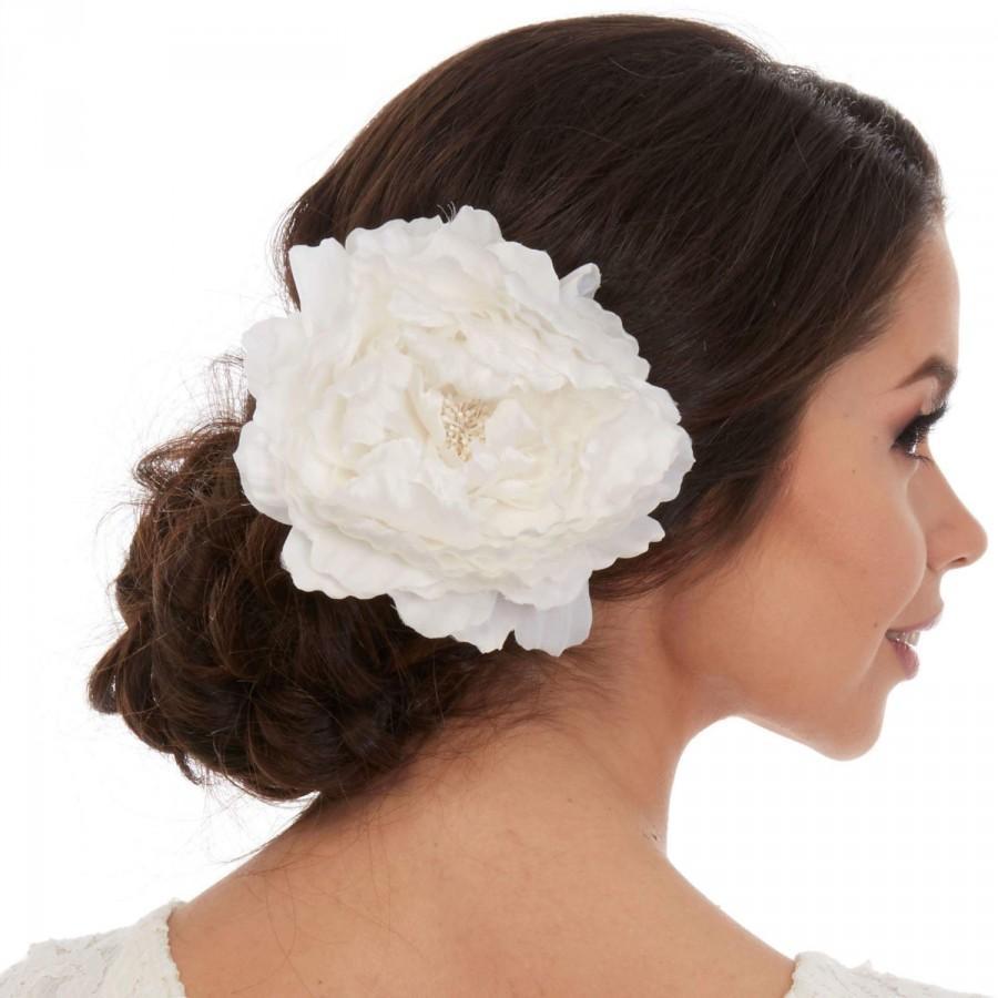 Mariage - White Flower Hair Piece - Silk Peony Hair Piece - Bridal Fascinator - Flower Fascinator - White Fascinator