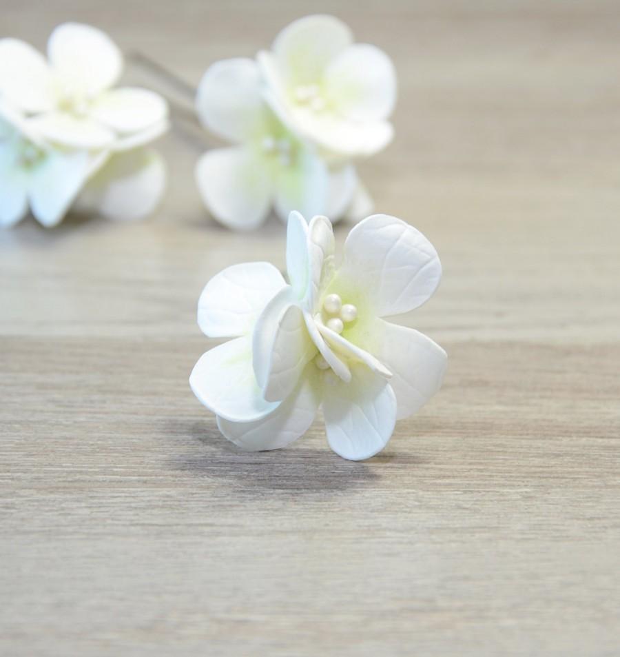 Mariage - White Hydrangea hair pins Bridal Flower Hair Pins Wedding flower Bridal Hair pins Floral Hair Barrette Bridal Hair Clip Flower Clips Boho