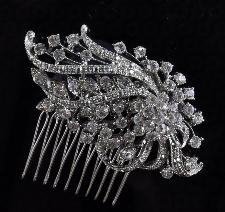 Wedding - BRIDAL COMB,wedding comb,wedding hair comb , crystal hairpiece,bridal head piece with SWAROVSKI Crystals - Margaret