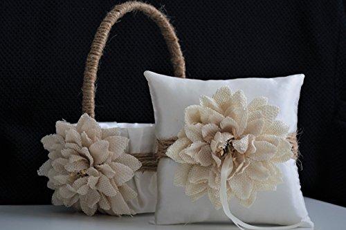 Wedding - Rustic Ivory Beige Burlap Wedding Flower Girl Basket and Ring Bearer Pillow Set
