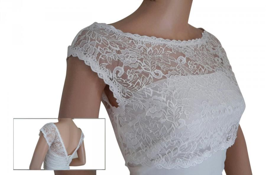 Hochzeit - Ladies  White or Ivory Lace Bridal Shrug/ cover up with button detail  for Weddings, Proms, Balls or Cruises in sizes UK  8,10,12,14,16 & 18