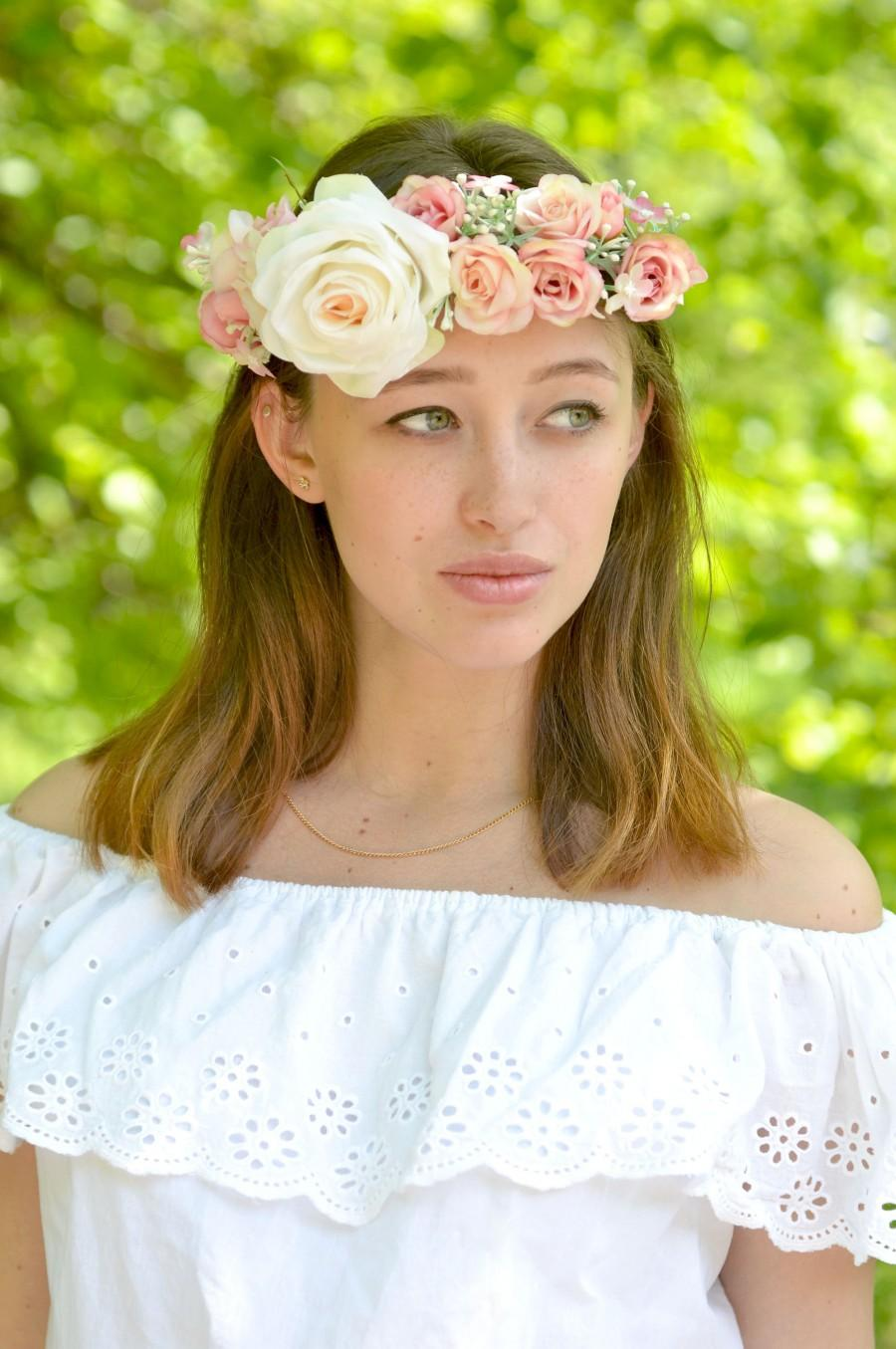 Wedding - Wedding flower crown peach pink rose hair bridal crown White floral head wreath roses halo wedding flowers Provence headband Bridal wreath - $45.00 USD