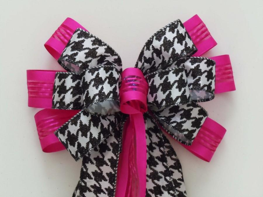 Mariage - Pink Black Houndstooth Wedding Aisle Bow Hot Pink Black Houndstooth Decoration Bow Wreath Bow Party Decorative Bow Packaging Gift Bow