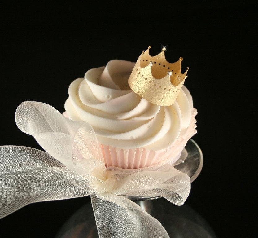 Wedding - 6 Edible Crowns wafer paper in GOLD, SILVER or PEARL, nontoxic glitter