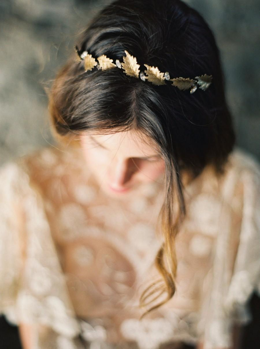 Свадьба - Gold Oak Leaf and Rhinestone Bridal Crown -Style 5115 'Thea' MADE TO ORDER