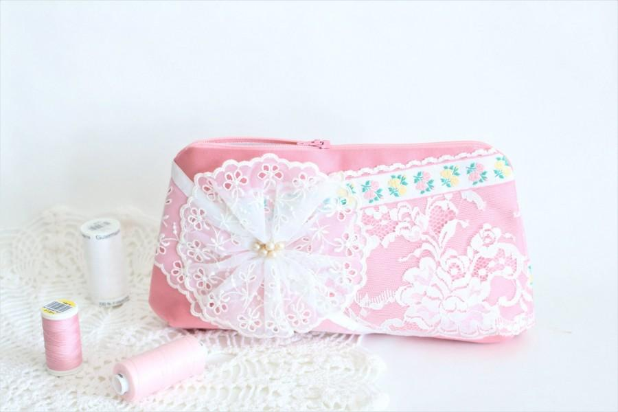 caa989b3d988 Bride Makeup Bag Gift For Bride Clutch Bag Pink Wedding Clutch ...