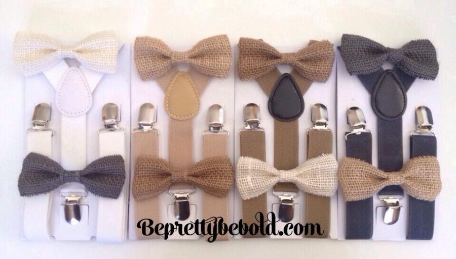 Свадьба - Burlap Bow tie Tan Bow ties for Men Bowtie and Suspenders Set Bow ties for boys Bow tie and suspenders  Wedding Ring Bearer Outfit Groomsmen