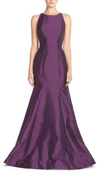 Wedding - Women's Monique Lhuillier Bridesmaids Back Cutout Taffeta Mermaid Gown