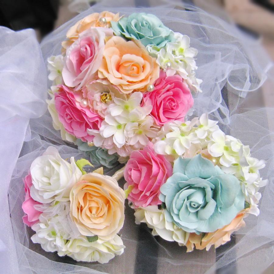 Hochzeit - Bridal Bridesmaid Bouquet Rose Flowers Bridesmaid bouquet Pink Aqua Champagne Chic Wedding, toss flower girl set (B010)