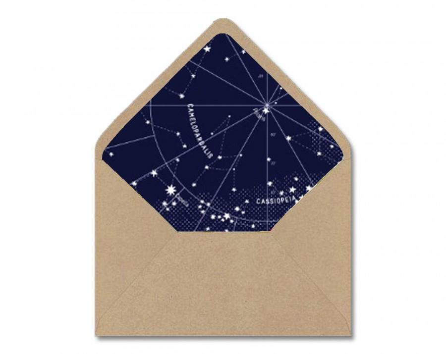 Diy Printable Envelope Liner Template  Navy  White Astrological