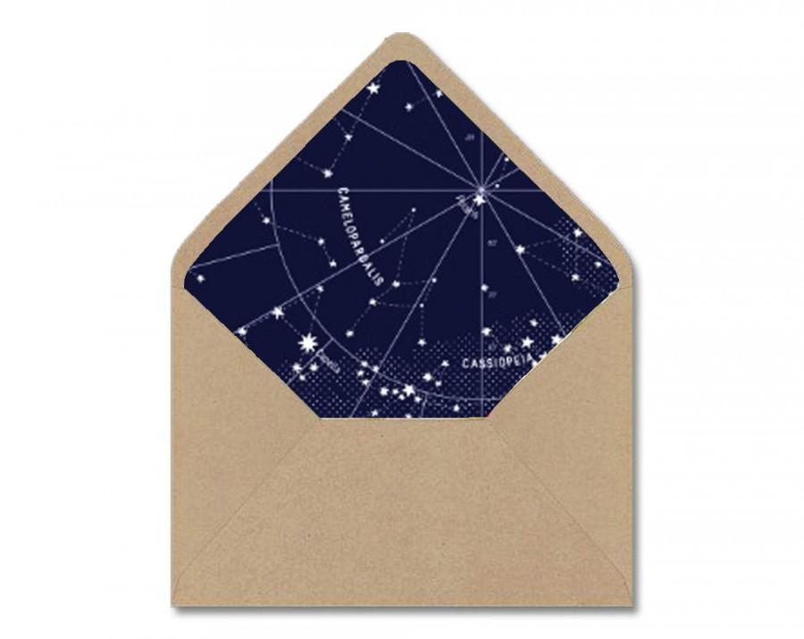 Diy Printable Envelope Liner Template  Navy  White Astrological