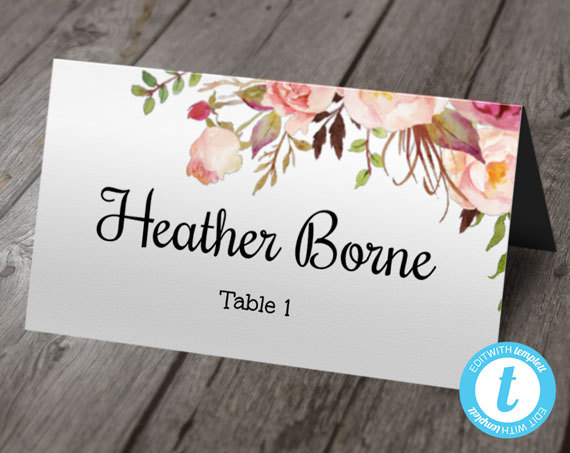boho floral wedding place card template escort cards printable
